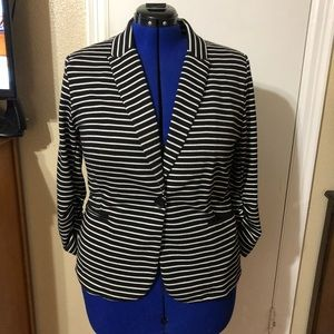Olivia Moon Black and White Striped Blazer